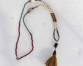 Morea Beaded Stone Necklace with Tassel