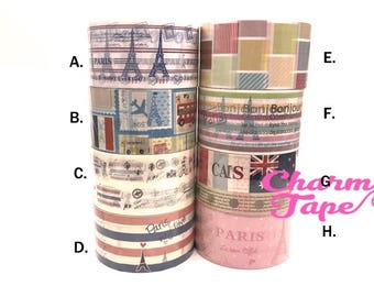 Deco Duct Tape adhesive Stickers - French Eiffel Tower theme Jumbo size DTB144