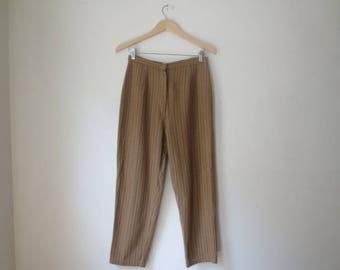 Vintage '50s High-Waisted Wooly Khaki Pinstripe Cigarette Pants w/ Adjustable Waist Detail! 26 - 28 Inch Waist