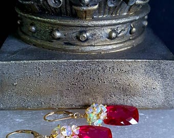 15% Off Sale Petite Red Topaz with Ethiopian Opal on Gold Fill Little Luxe Gift for Her