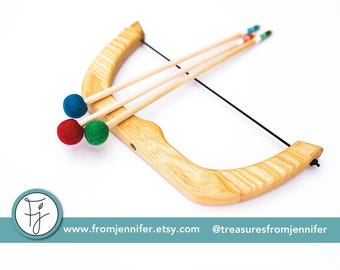 "Small Bow and Arrows - ""Copyright From Jennifer"" - Natural Wood Toy Bow - Handmade Toy - Birthday Gift"