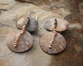 Sterling Silver Drop Earrings Embellished with Tiny Seed Pearls / Matte Fire Patina / 20g SS Ear Wires / Winnowing Baskets + Pottery Shards