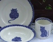 Calico Cat Children Breakfast Set. Staffordshire England. Plate Bowl and Cup.  Burieleigh and Royal Crowford. Blue and White. Glazed China.