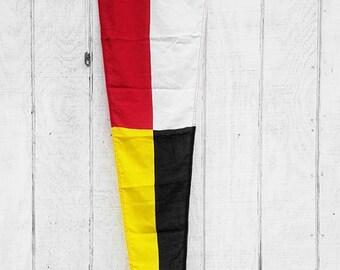 Vintage Nautical Ship Flag, 5 ft Canvas Maritime Red Yellow Black White Pennate Signal Flag; Rustic Distressed Flag Ocean Beach House Decor