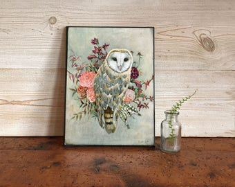 Owl Print, Owl Pictures, Owl and Flowers Picture, Owl Gift Ideas, Owl Nursery Art, Rustic Owl Print, Urban Barn Owl Painting