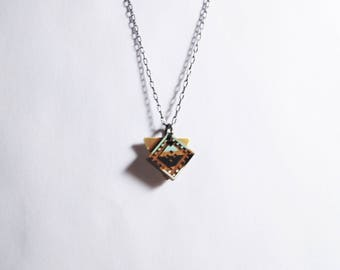 Small Diamond Necklace, Wood, Mint and Black, Brass