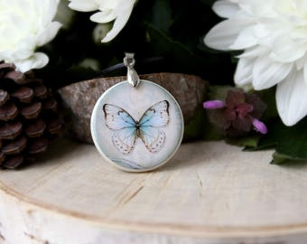 Vintage Butterfly Print Necklace Polymer Clay