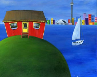 Hilly Harbour Hideout Giclée Archival Print - Paper or Canvas - Folk Art Island Cottage cityscape waterfront and sailboat - Various Sizes