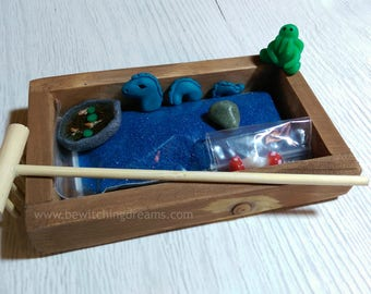 Desktop Zen Garden - with handsculpted miniature Nessie, Cthulhu & Koi Pond