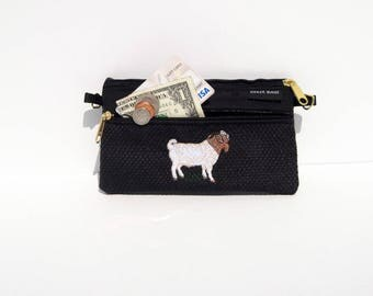 Boer Goat 2 Compartment Pouch on Black