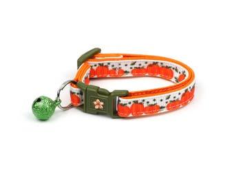 Pumpkin Cat Collar - Pumpkin Season - Small Cat / Kitten Size or Standard / Large Size Collar