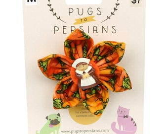 Autumn Dog Bow - Pilgrim Girl on Pumpkins - Flower - Collar Blossom - Medium Size