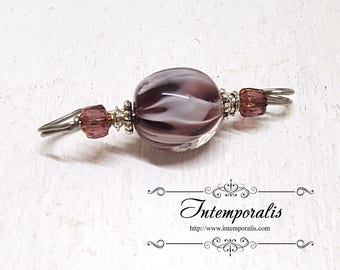 Purple and white lampwork glass bead brooch, shawl pin, OOAK, SAFI13