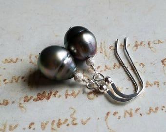 Silver Peacock Tahitian Pearl Earrings, Peacock Pearls, Baroque Tahitian Pearls, Hawaiian Jewelry, 10 mm Tahitian Pearls:  Ready to Ship
