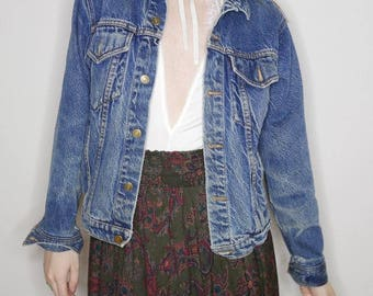 vtg 80 90s dark wash denim jacket size s-m