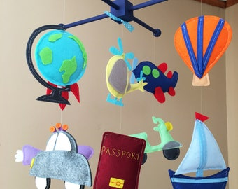 Custom Travel Themed Baby Crib Mobile, Submarine Baby Nursery Mobile, Motorcycle Felt Mobile, Globe and Helicopter Baby Mobile, Car Mobile