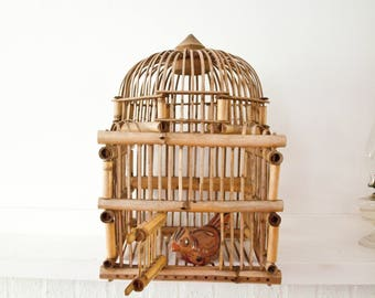 Vintage Bamboo Bird Cage / Garden Decor