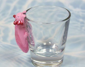 Hand Sculpted Axolotl 1.5 oz Shotglass
