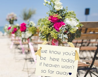 We Know You'd Be Here Today if Heaven Wasn't So Far Away Sign Seat Banner | Sign for Relatives at Wedding Ceremony 1318 BW