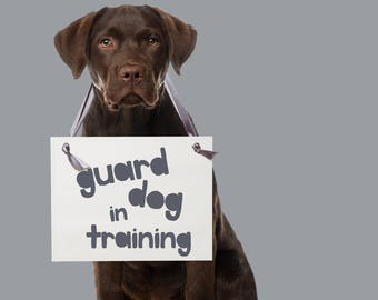 Guard Dog In Training Sign for Pregnancy Announcement | Pregnancy Reveal Hanging Banner USA 1881 BB