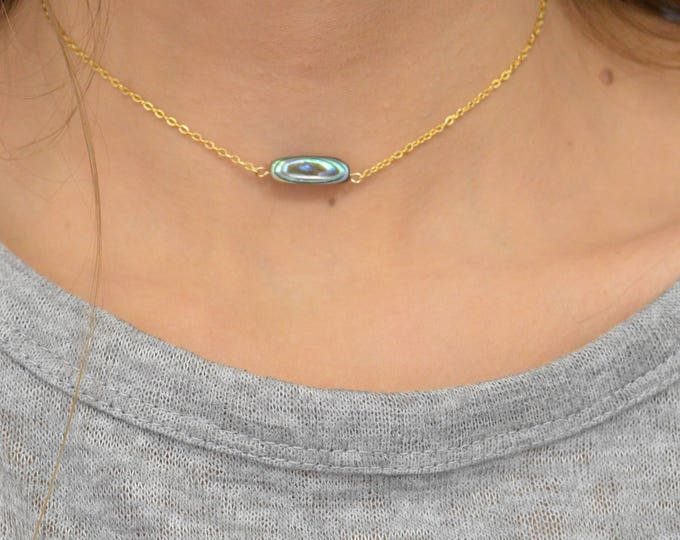 Abalone Choker Necklace, Shell Necklace, Green Choker, Everyday, Abalone Shell, Rose Gold Filled, 14k gold filled, or sterling silver chain