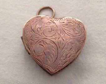 Large Heart Shaped Locket Charm 925 Sterling Silver R M Vintage 1960's Etched Design