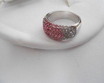 "Vintage ring, pink, fuschia, and clear crystal ring, size 7 ring, silver ring signed ""NVC"" ring, vintage jewelry, jewellery"