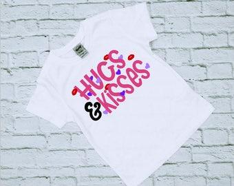 Valentines - Valentines Day - Valentine Shirt - Girls Valentine Shirt - Hugs and Kisses - Shirts for Girls - Shirts for Valentines