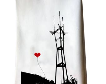 San Francisco Sutro Tower tea towel