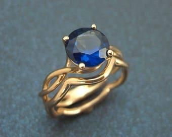 Wedding Rings Set, Wedding Band Set, Bold 2 Carat Blue Sapphire Infinity Engagement Ring, Blue Gemstone, Set Rose gold Braidel Set
