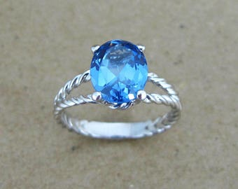 Blue topaz engagement ring, Blue topaz rope ring, Blue topaz white gold ring, Oval gem ring White gold twisted rope ring, Blue gemstone ring