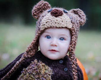 Grizzly Bear Costume - Bear Hat and Overalls Set - Halloween Costume Set - Bear Photography Prop - Bear Gift Set - by JoJo's Bootique