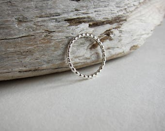 Silver beaded ring. Dot ring band. Pebble stack ring. Sale!