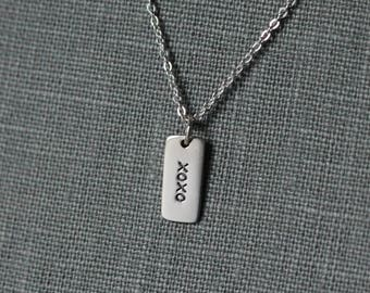 XOXO  Necklace, Hugs and Kisses Necklace, XOXO Jewelry, Sterling Silver Tag Charm, Gift for Girlfriend