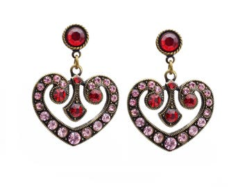 Vintage Heart Earrings with Red and Pink Crystals