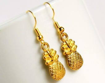 Golden pineapples, gold drop earrings, dangle, summer, tropical, gifts for her