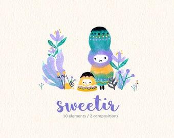 Watercolor Cute Monsters Clipart, Cute Creatures, Ugly Cute Grumpy Monsters, Colorful Monsters, Kids Wall Decor, Purple, Children Print