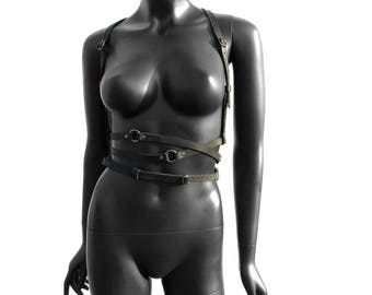 Summer Sale! 15% off - BDSM Fashion Harness ARTEMIS Black Leather and Gunmetal