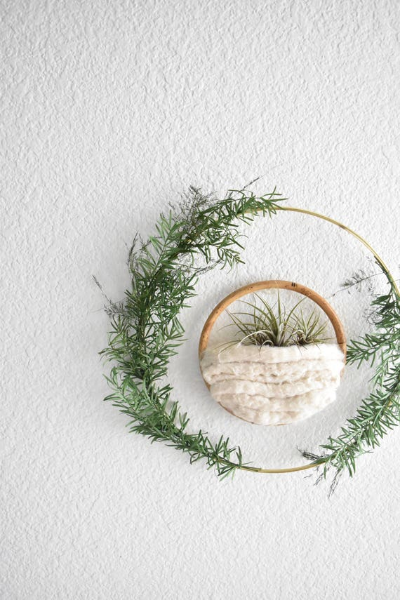 handmade modern christmas wreath with gold ring / natural dried green foliage leaves