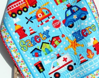 Baby Boy Quilt Fire Truck Rescue EMS Police Officers Be My Hero Ambulance First Responders Crib Bedding Nursery Decor Handmade Baby Quilt