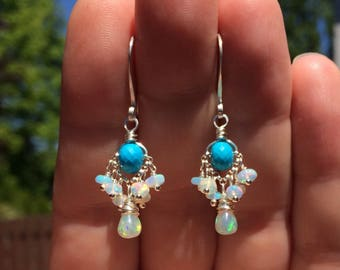 Turquoise & Opal Earrings, Petite Fiery Ethiopian Welo Opal Cluster Earrings, Genuine Turquoise Dangles, Dainty Silver Gemstone Earrings