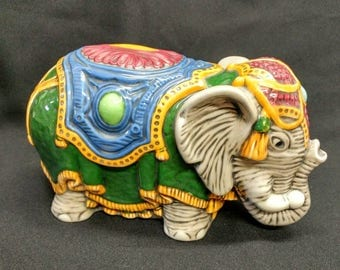 """Vintage Colorful Hand-Painted Ceramic Elephant Dressed for Circus or Parade 9"""" Length Like New Condition 18063"""