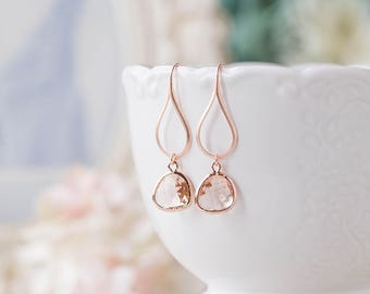 Rose Gold Earrings, Peach Earrings, Peach Champagne Wedding Jewelry, Bridesmaid Earrings, Bridesmaid Gift, Pink gold Earrings, Gift for Her