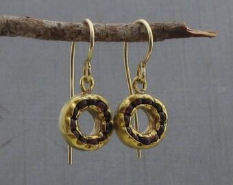 Garnet & 24k Solid Gold Earrings