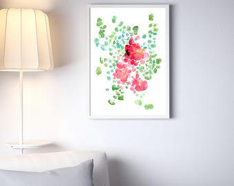 Floral Large Painting. Floral Poster Print. Watercolor Paintings of Flowers. Pink and Green Flowers Leaves. Modern Home Decor. Nature Art.