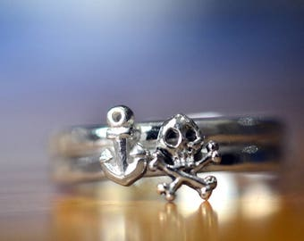 Silver Anchor Ring, Silver Skull & Crossbones Ring, Sterling Stacking Ring Set, Personalized Pirate Jewelry, Jolly Roger Nautical Jewelry