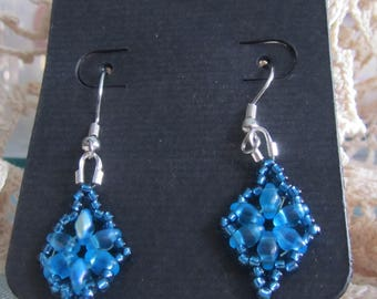 Dazzeling Duo Earrings - Hand sewn bead weaving