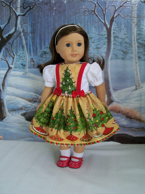 "SUPER SATURDAY SALE!  18"" Size/ Christmas Pinafore Dress fits  American Girl® Dolls or Other 18"" Dolls"