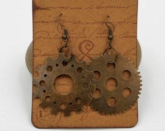 Gear earrings Steampunk, Industrial, mismatched cogs dangle earrings