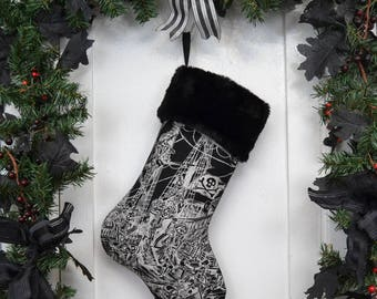 Pirate Christmas Stocking, Swashbuckling Skeletons, Pirate Ship, Black and White, Black Faux Fur, Black Canvas Liner
